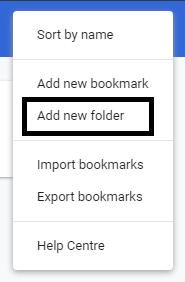 creating bookmarks folder in google chrome
