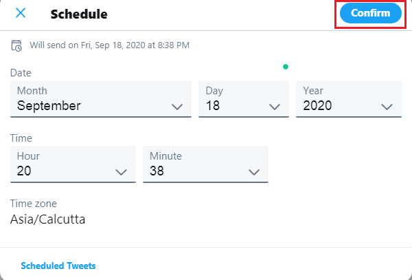 schedule tweets using twitter on pc