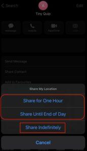 iMessage location share
