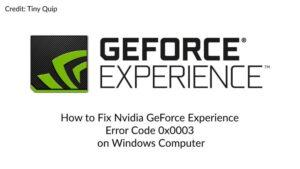 geforce error code 0x0003