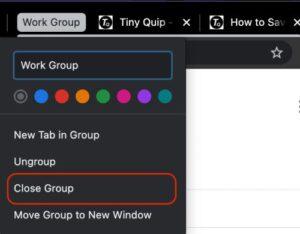 close chrome tab group