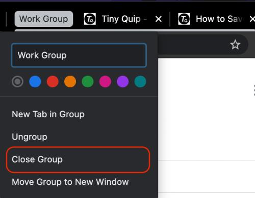 close chrome tab group